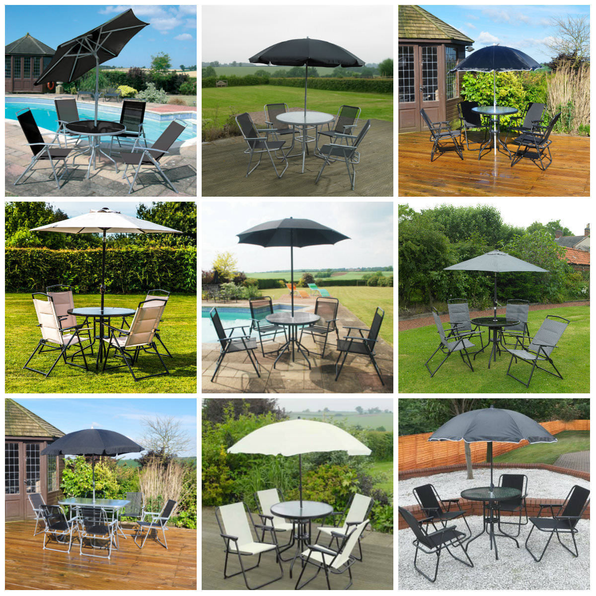 Garden Patio Furnishings Set 4/6 Seat Consuming Set Parasol Glass Desk And Chairs Nice britain