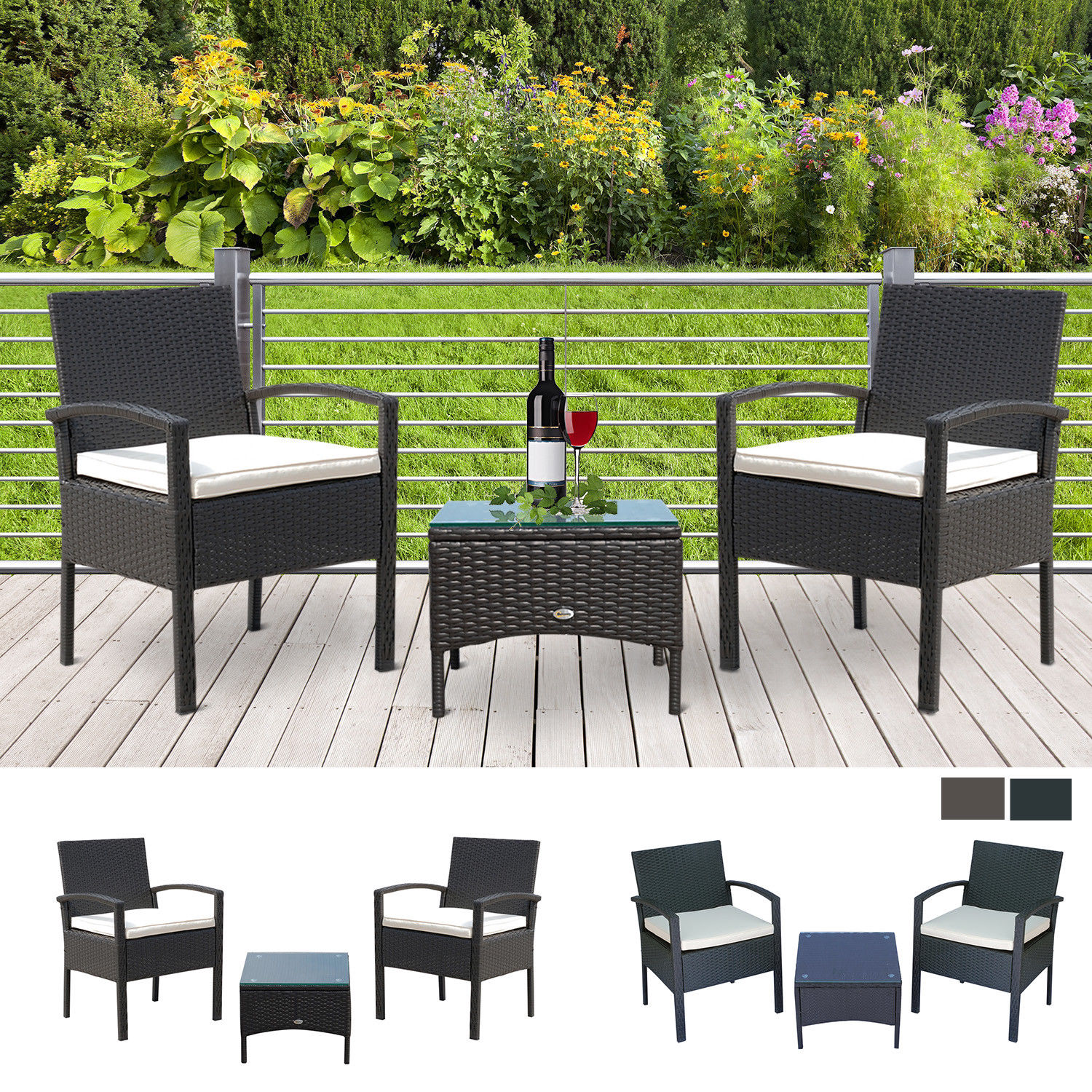 three Objects Rattan Set Furnishings Garden Cushion Bistro Wicker Black Brown Patio