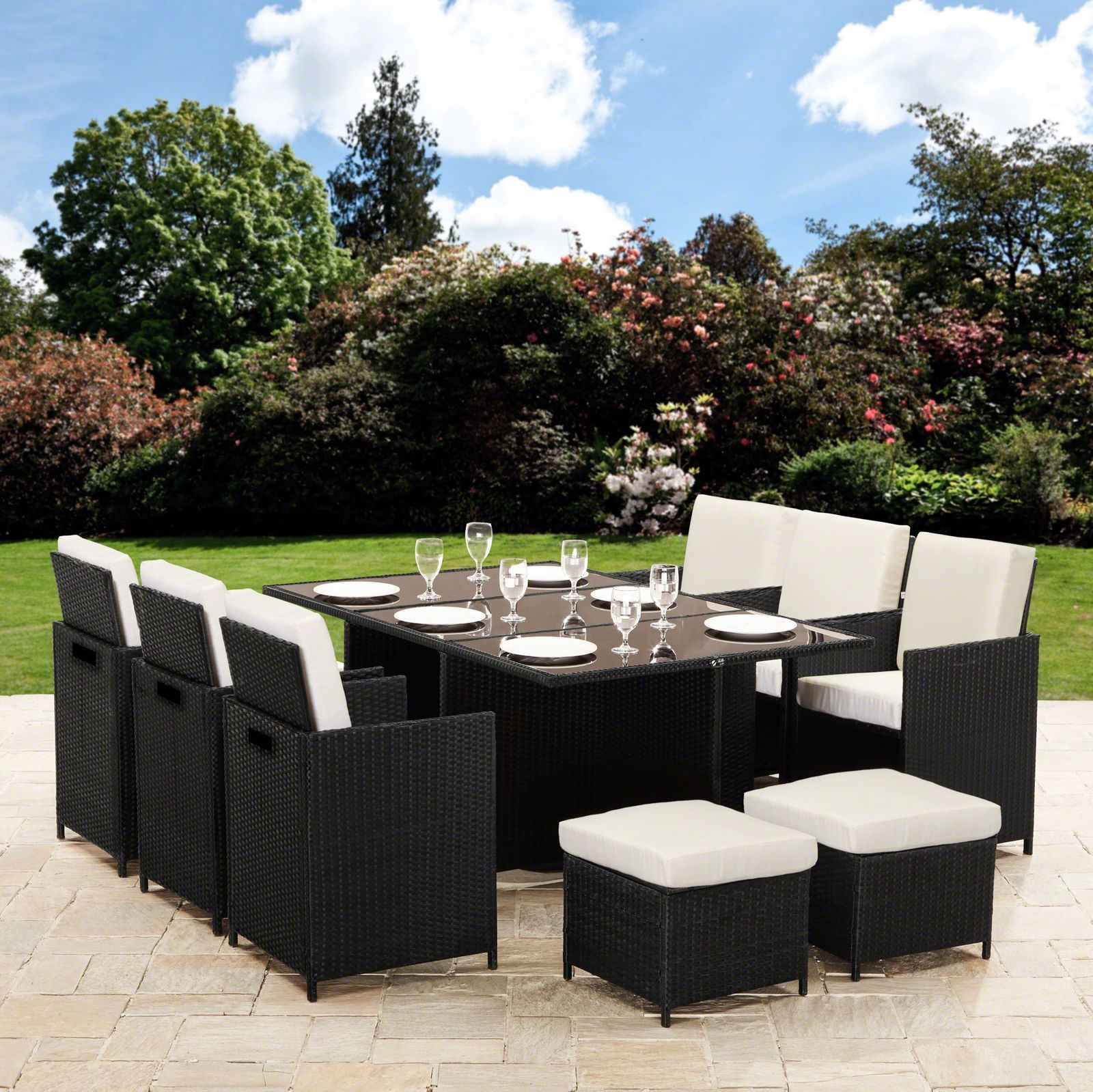 Rattan Cube Garden Furnishings Patio Set