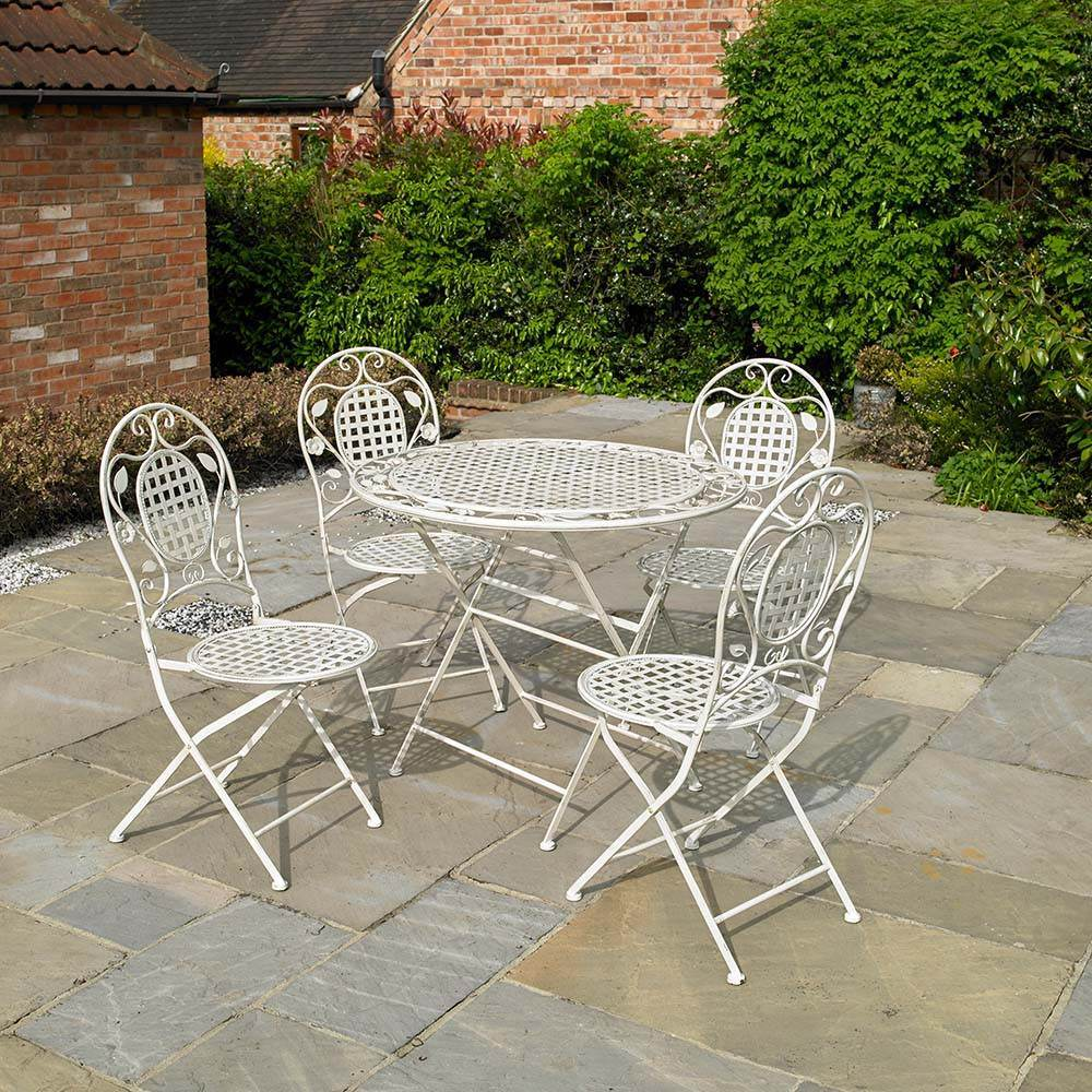 5PC GARDEN PATIO CREAM BISTRO FURNITURE SET OUTDOOR FOLDING DINING SET FLORAL