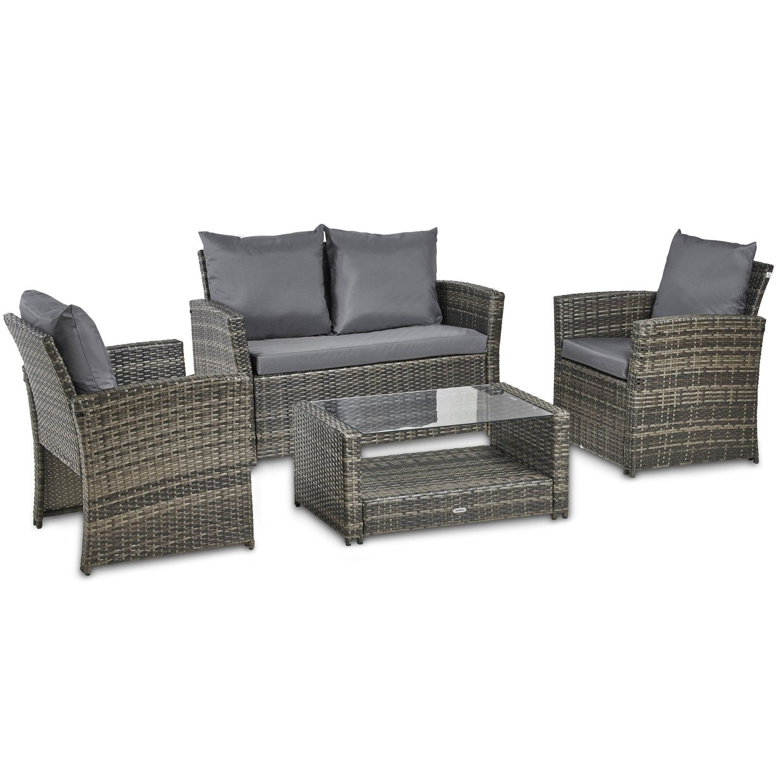 VonHaus 4 Piece Rattan Sofa Set Cushioned Grey Outside Furnishings Lounge & Consuming