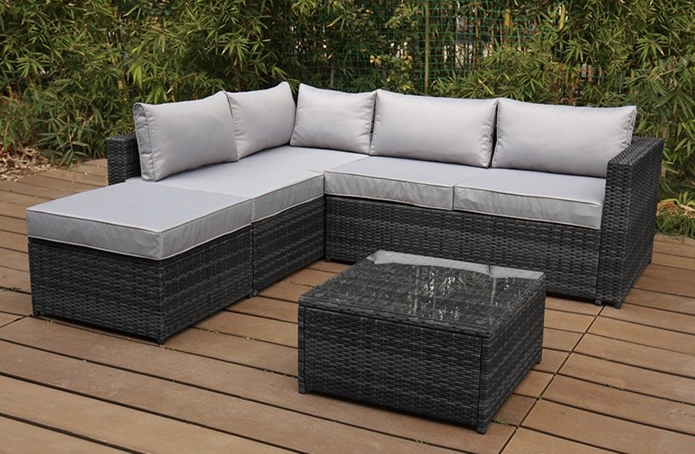 Rattan Modular Nook Sofa Espresso Desk Patio Conservatory Set Garden Furnishings