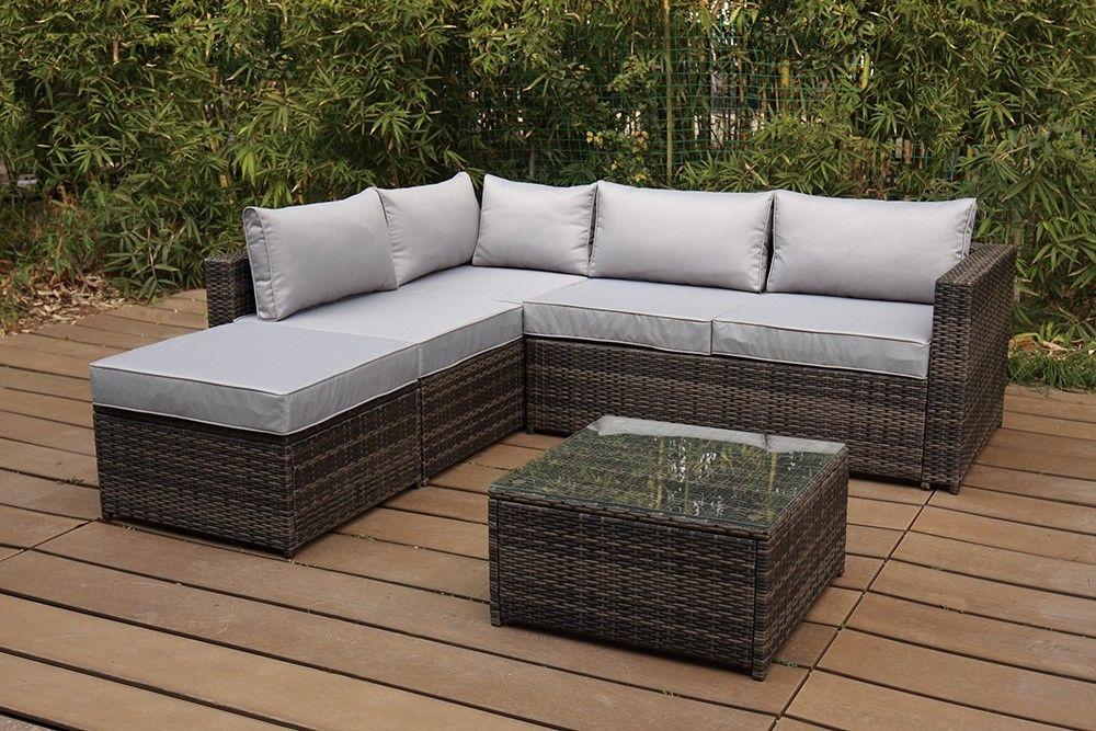 Rattan Modular Garden Furnishings 5 Piece Nook Sofa Set Desk Chairs Patio Conse