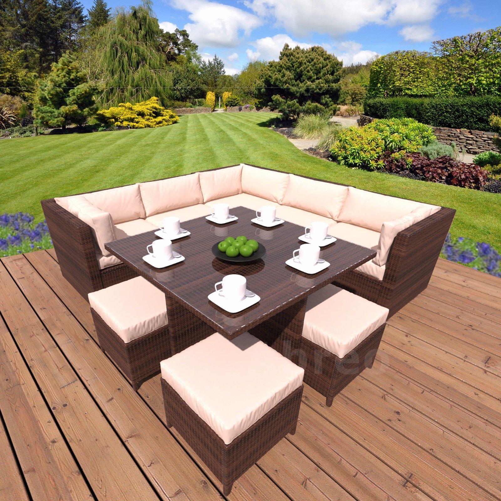 Modular Rattan Garden Furnishings Cube Nook Sofa Footstool Consuming Desk Set