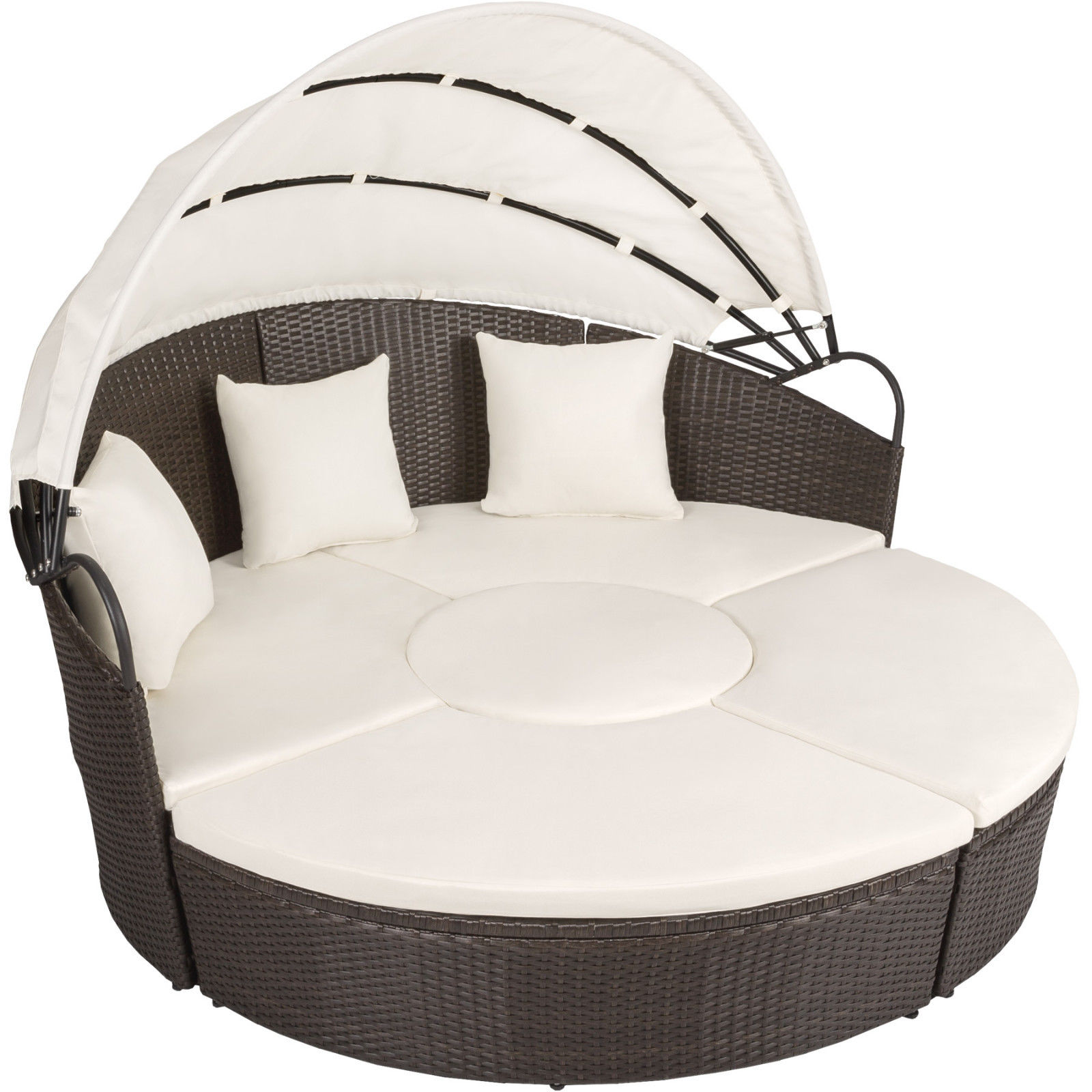 Alu rattan day mattress garden furnishings outside lounger sofa photo voltaic roof desk brown an
