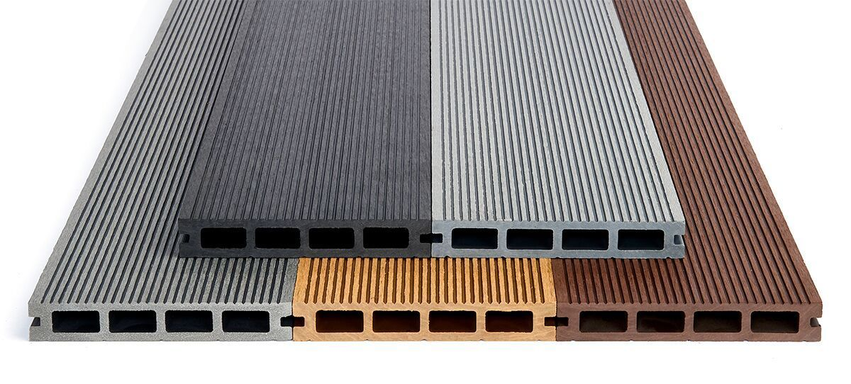 WPC Wooden Composite Flexible Decking Boards 150mill x 25mill Black Brown Gray Lengths