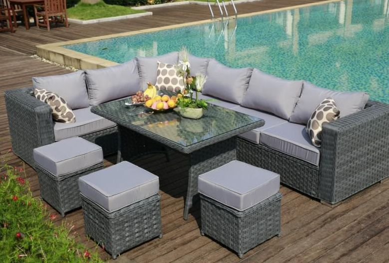 17PAPAVER RANGE 9 Seater PE Rattan Nook Sofa & Consuming Set Garden Furnishings