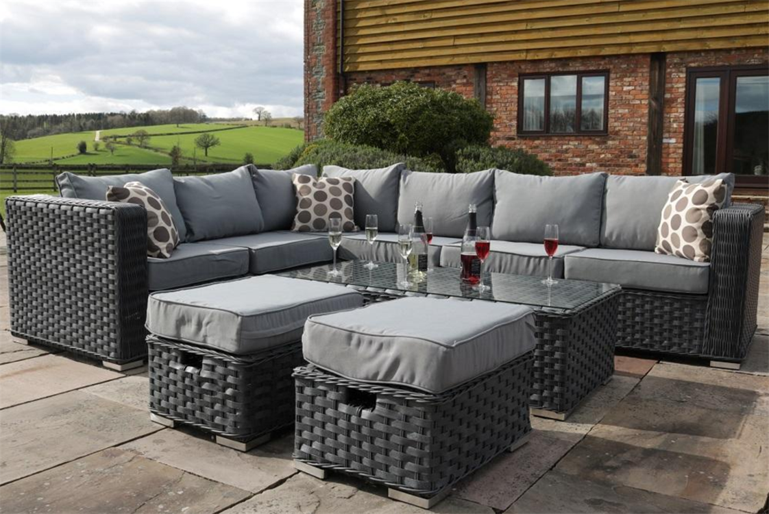 Yakoe eight Seater Rattan Nook Sofa Set Conservatory Patio Garden Furnishings Grey