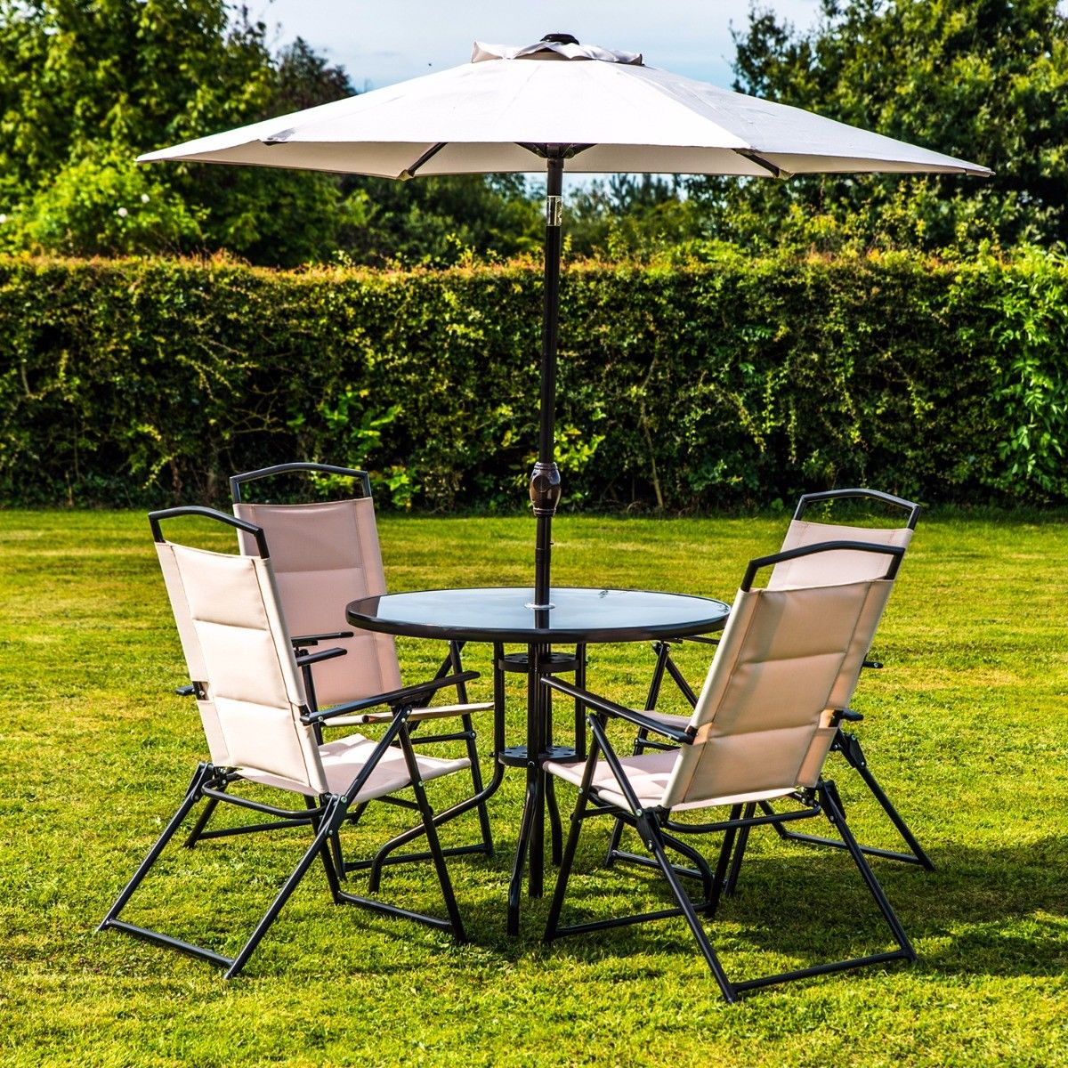 DELUXE 6 PIECE OUTDOOR GARDEN PATIO FURNITURE SET WITH PADDED CUSHIONS & PARASOL