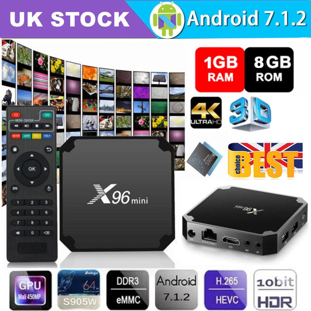 X96 MINI S905W Quad Core Android 7.1.2 Nougat Smart TV BOX 4K HDMI Stream 3D Nice britain