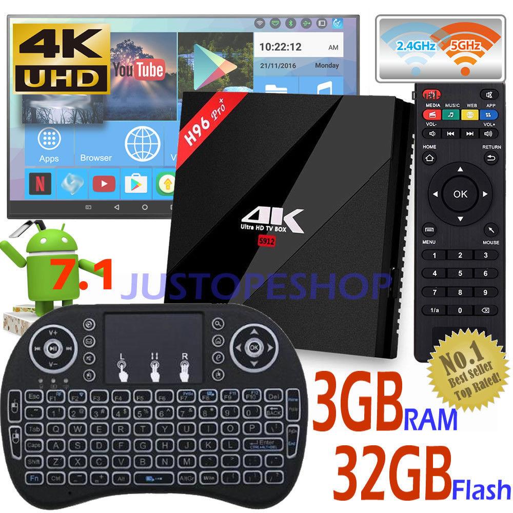 18 H96 Skilled+ 3GB 32GB Amlogic S912 Octa Core Android 7.1 TV Subject+Mini Keyboard