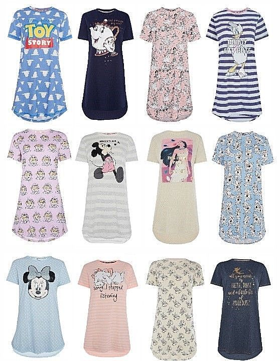 SIZE SMALL Ladies Pyjamas Nighty Womens Pjs Nightshirt Nightdress Disney Primark