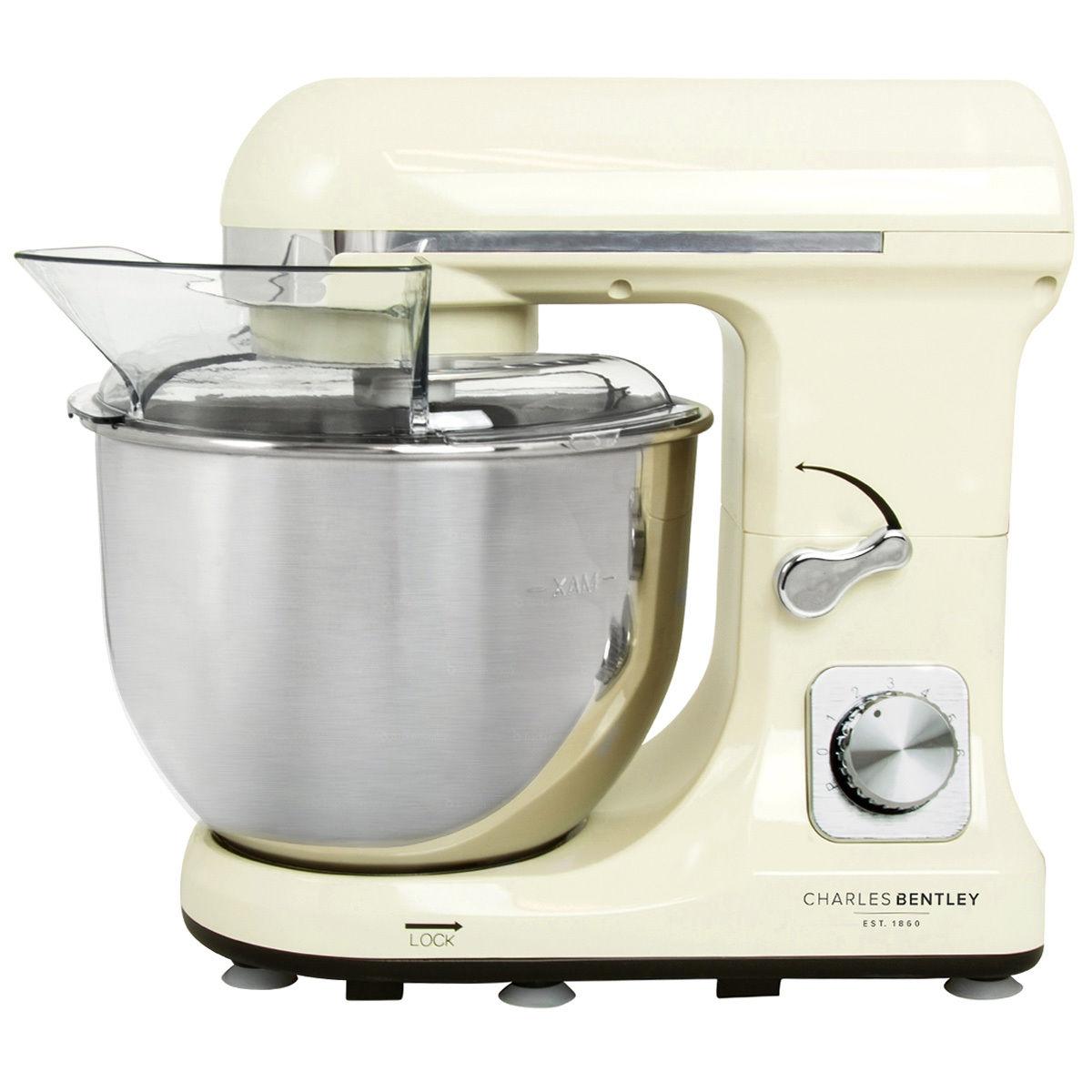Charles Bentley 1000W Cream Meals Stand Mixer 5L Bowl, Splash Guard, Dough Hook