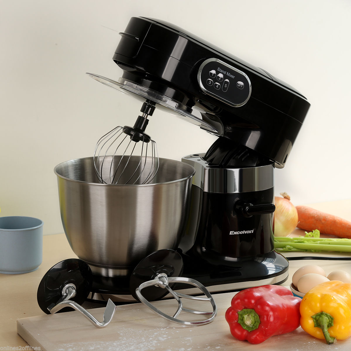 1000W 5.5L Electrical Meals Stand Mixer Kitchen Machine Blender + Beater/Hook/Whisk
