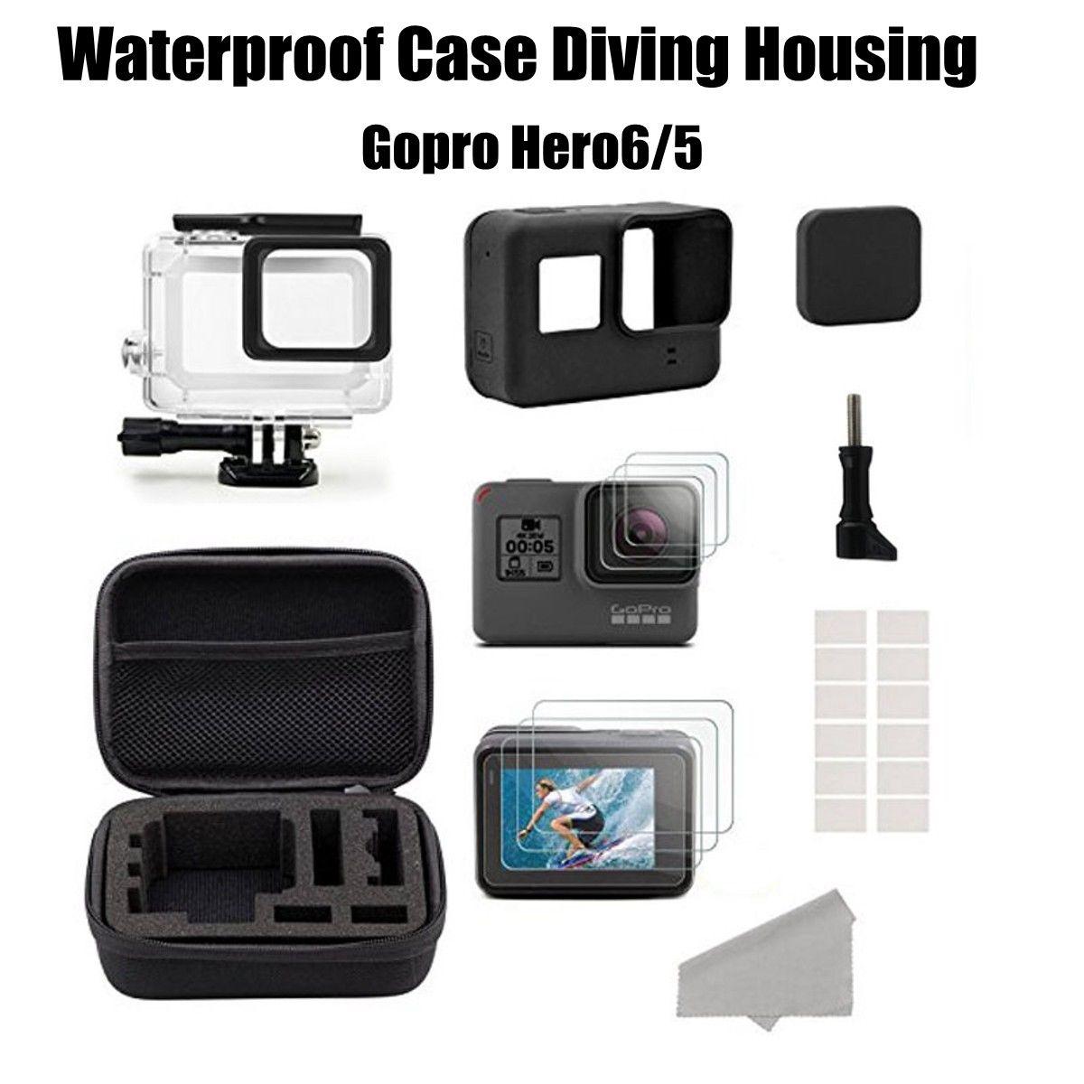 For GoPro Hero 6/5 Black Digicam Gear Diving Watertight Housing Case +Film