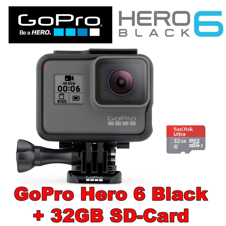 GoPro HERO6 Black Model 4K60 UltraHD Water resistant Conduct Digitised digital camera +32GB SD-Card