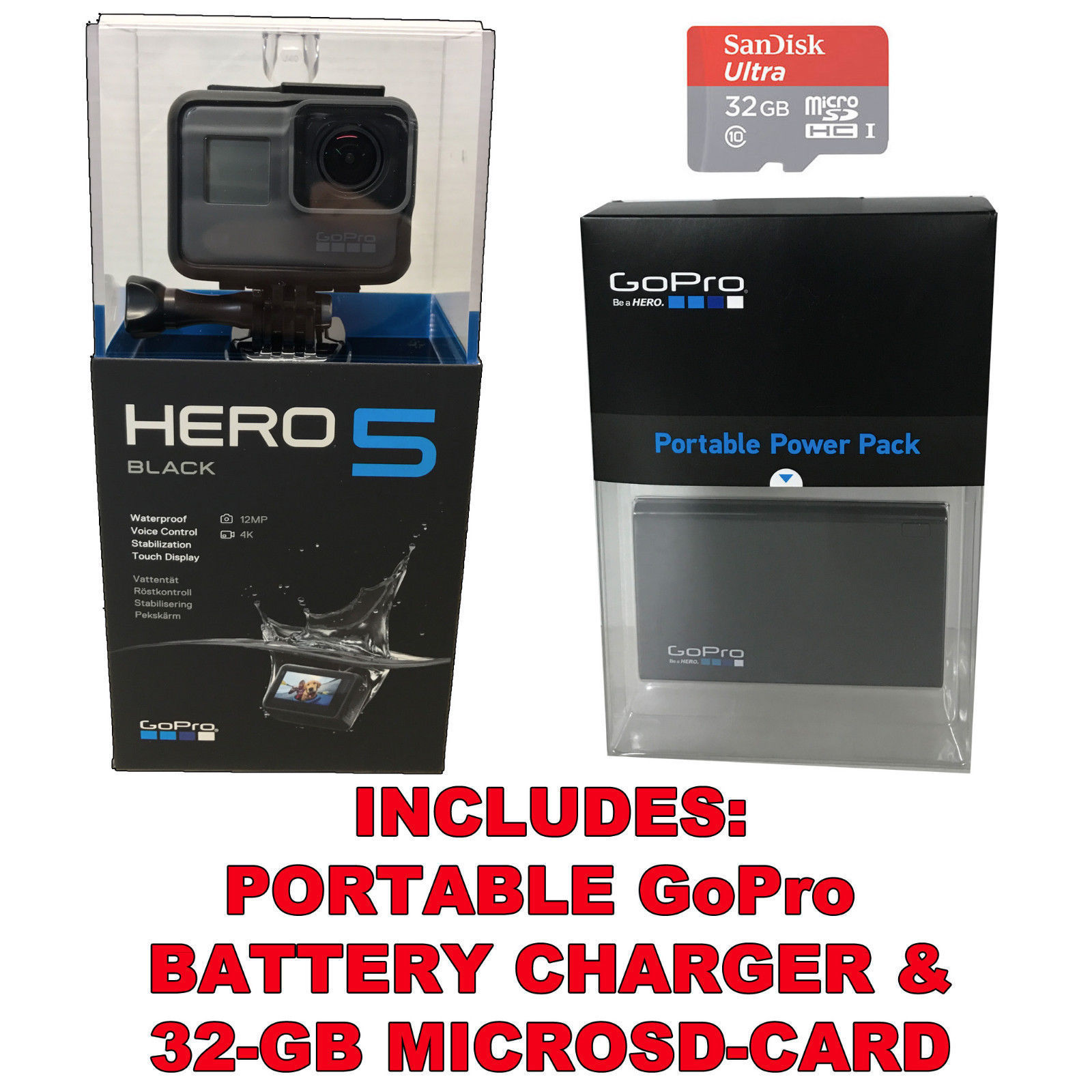 GoPro HERO5 Black 4K HD Water-resistant Motion Digital camera +32GB SD-Card +Battery Charger