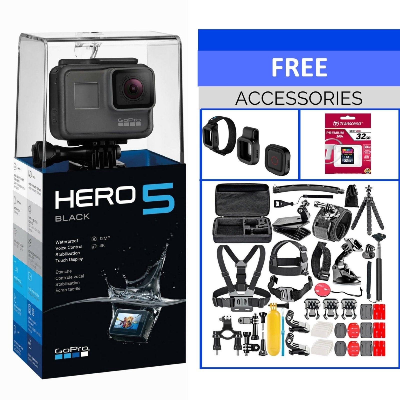 GoPro HERO 5 Black Movement Electrical digicam – 4K 12MP – Water-proof – WIFI + Remote + BUNDLE