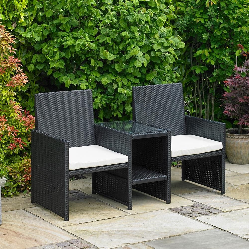 RATTAN LOVE CHAIR GARDEN FURNITURE DOUBLE 12 PERSON SEAT OUTDOOR