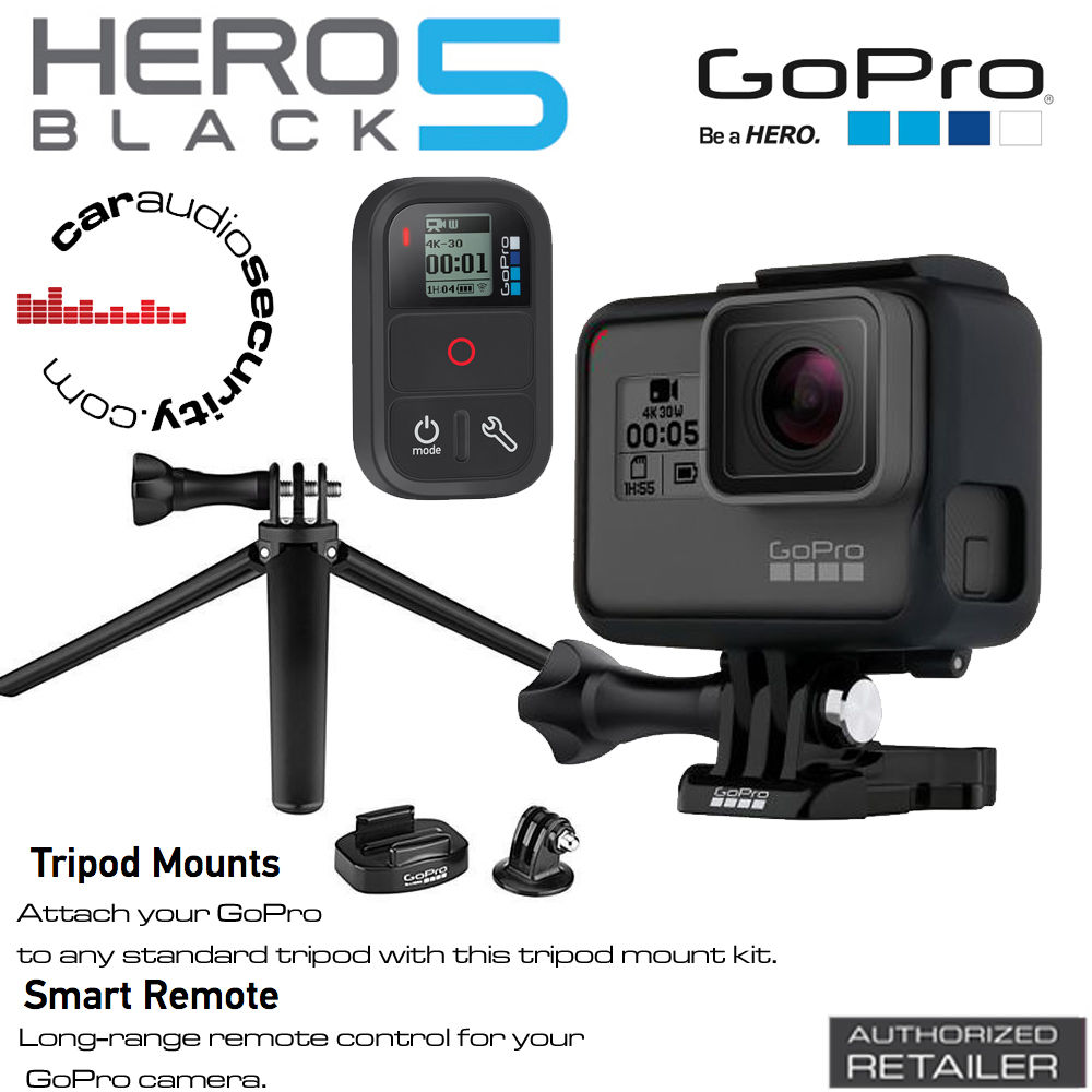 GoPro Hero5 Black 4K Really HD Digicam + Sensible Remote + TriPod Mount Bundle Deal