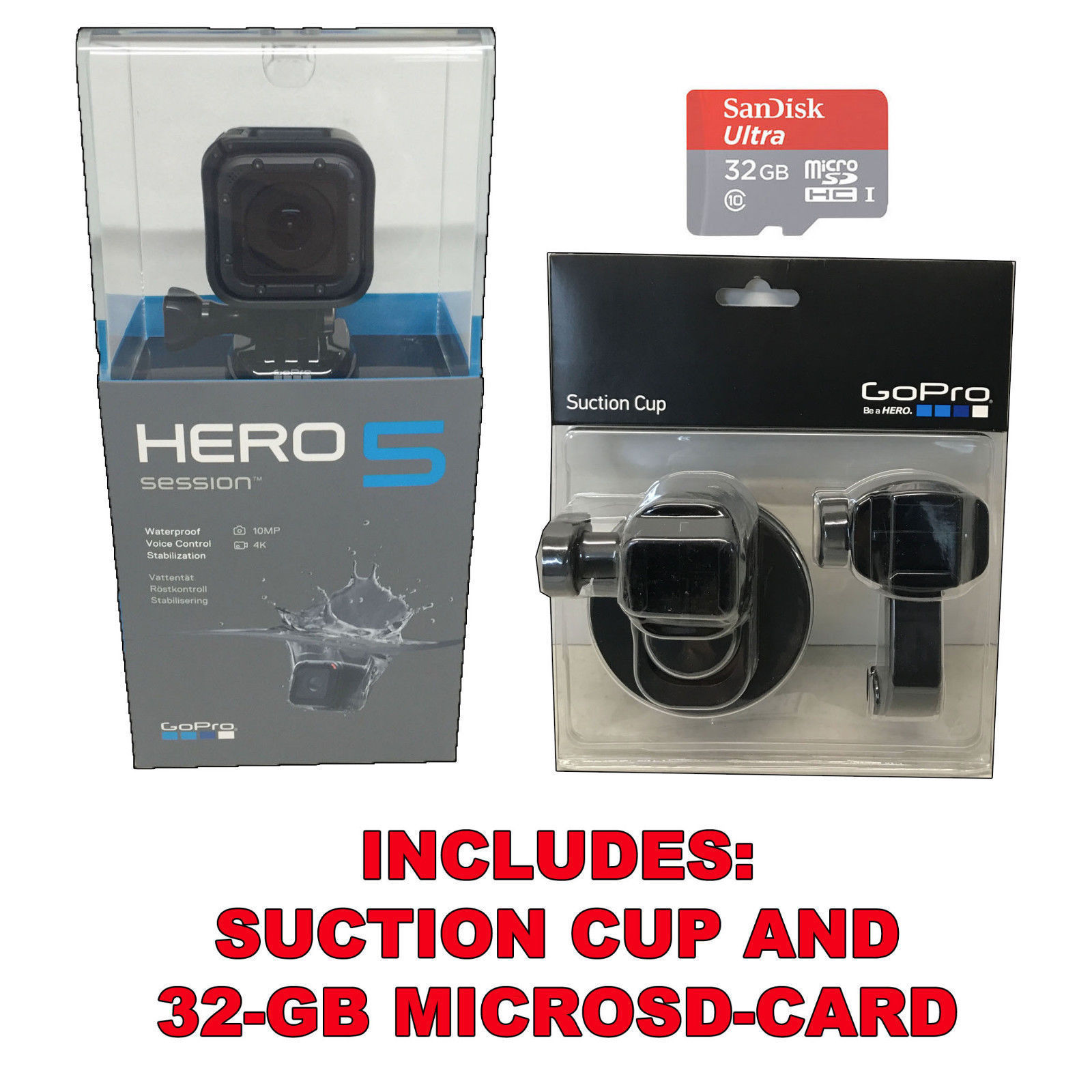 GoPro Hero5 Session 4K HD, Wi-Fi Water resistant Digital camera, 32GB SD Card + Suction Cup